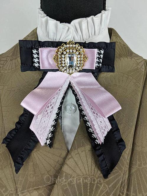 Baby Pink & Black Kimono Brooch Bowtie