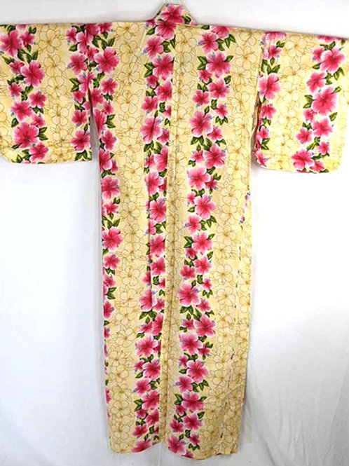 yellow and pink vintage yukata