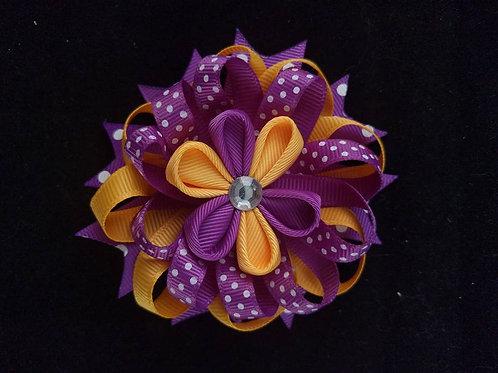 Yellow & Purple Ribbon Kanzashi
