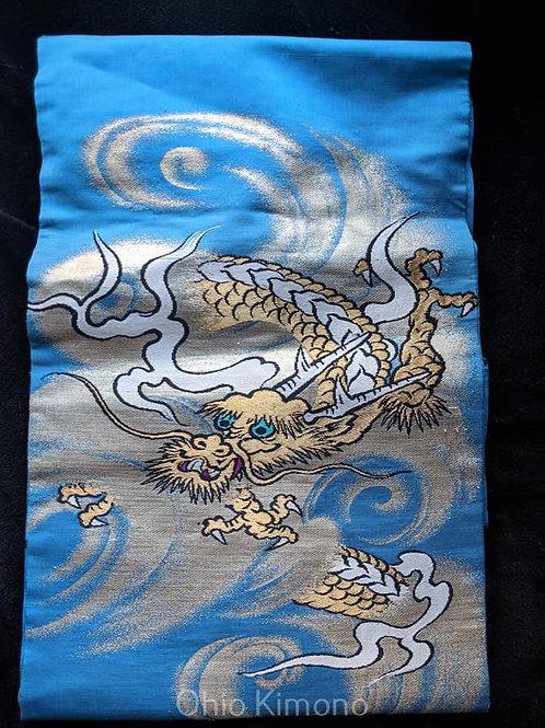 Aqua Blue & Gold Nagoya Obi
