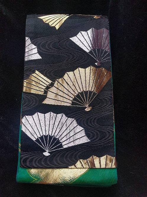 Black and Green Japanese Obi For Odori
