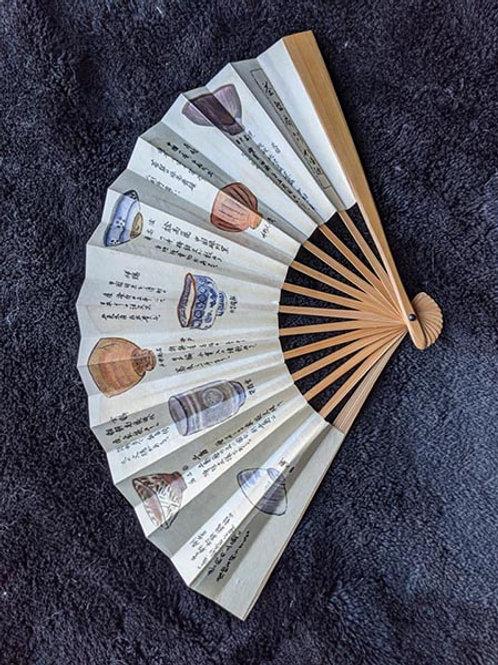 White & Blue Japanese Fan
