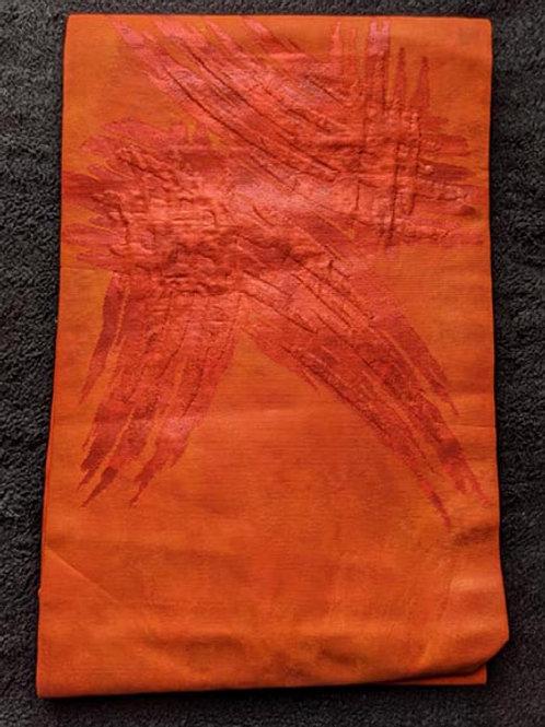 orange nagoya obi for kimono from japan