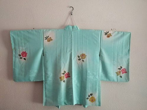 Aqua Colored Floral Haori