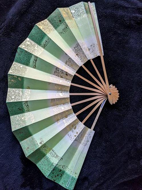 green japanese folding fan sensu