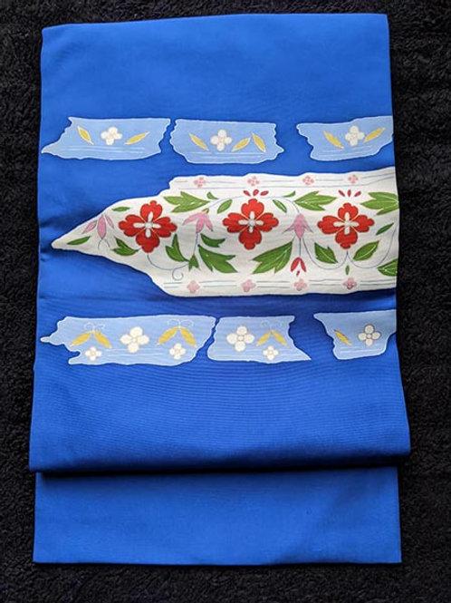 blue flower nagoya obi