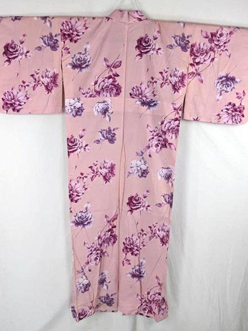 pink rose yukata from japan