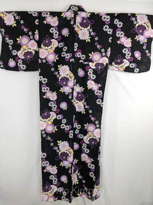 black yukata with purple flowers