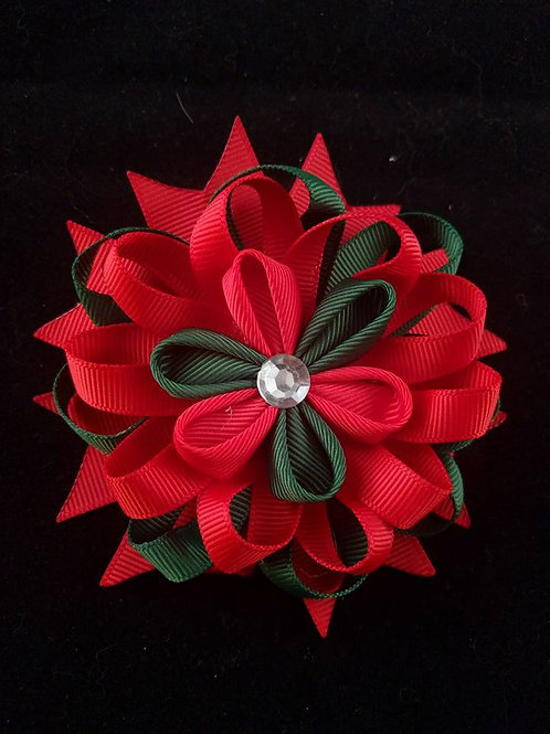 Red & Green Ribbon Kanzashi