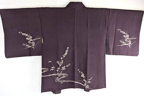 purple haori with flowers from japan