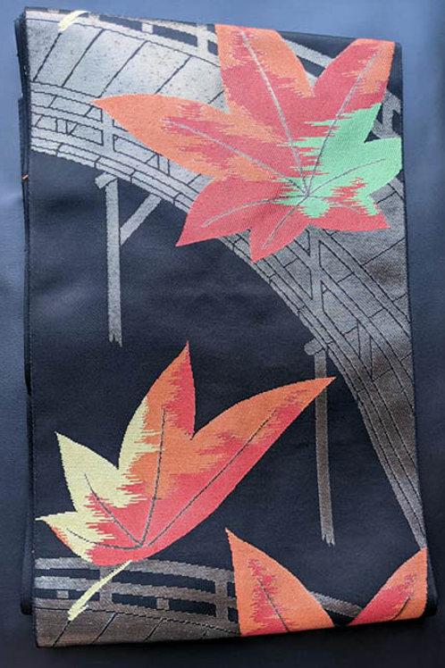 Black & Autumn Red Nagoya Obi