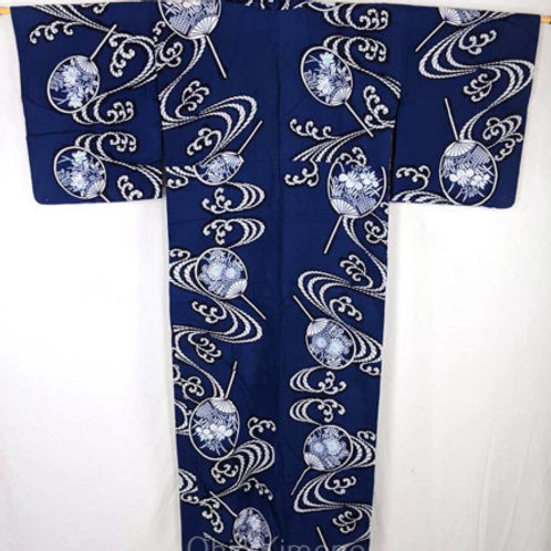 vintage yukata blue navy with water in white