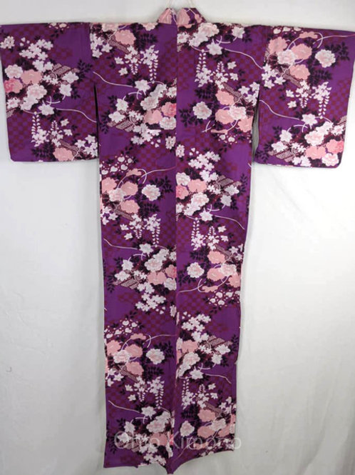 yukata with purple and pink wisteria and peony flowers from japan