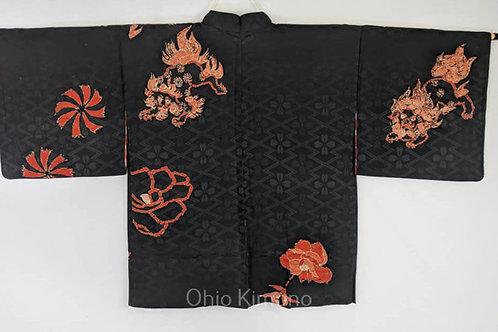 orange and black silk haori