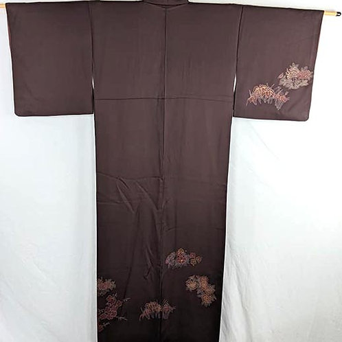 real formal japanese kimono brown