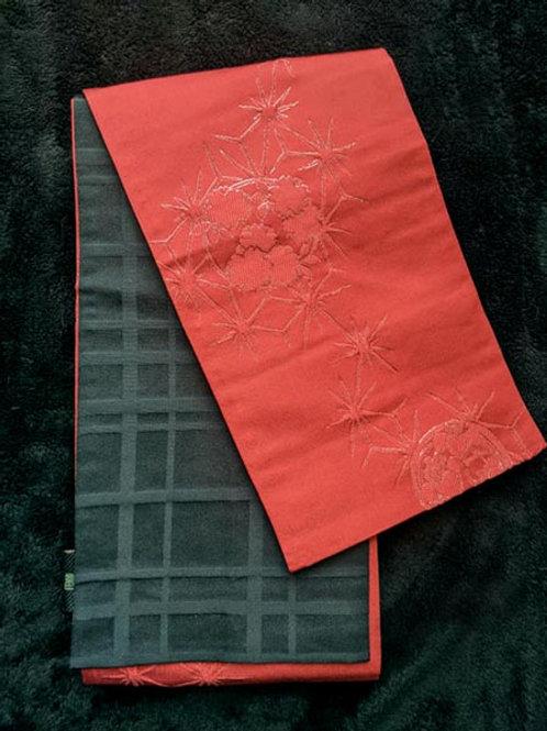 Black & Bold Red Hanhaba Obi