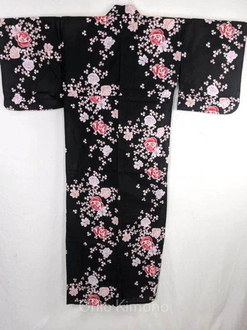 black rose women's yukata