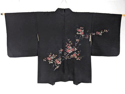 black floral haori for women