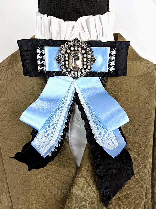 Pale Blue & Black Kimono Brooch Bowtie