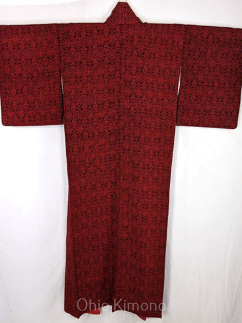 red and black womens kimono from japan