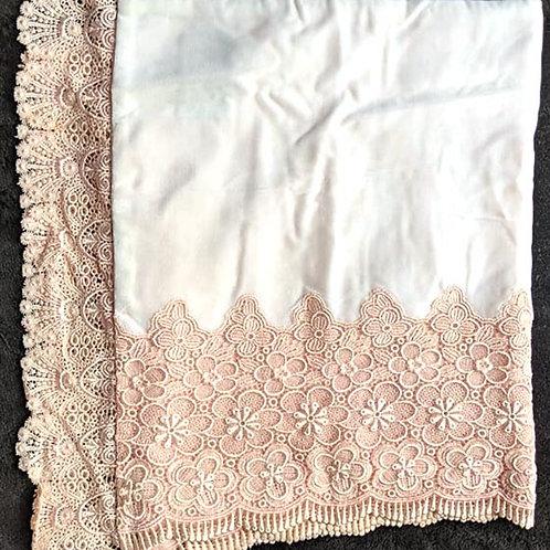 Powder White & Peach Kimono Shawl
