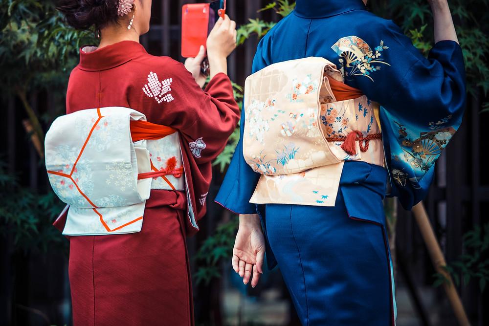 women wearing real japanese kimono