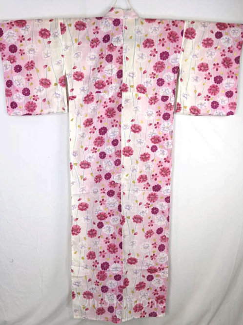 pink yukata with flowers japanese