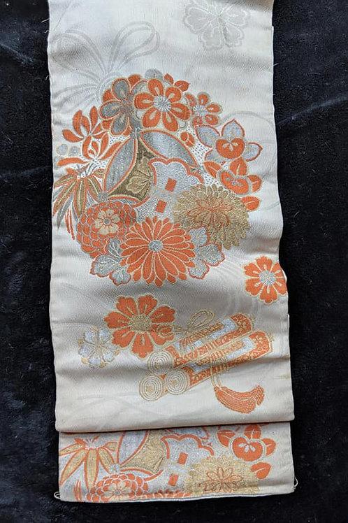 Off White & Orange Nagoya Obi