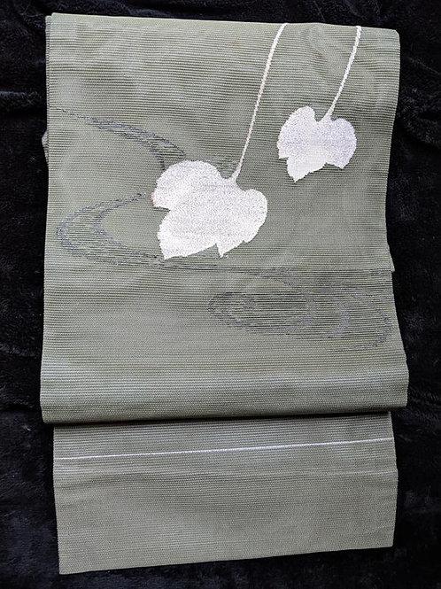 Sage Green & White Nagoya Obi