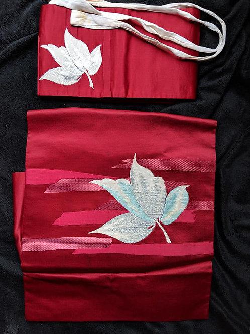 Red & White Tsuke Obi