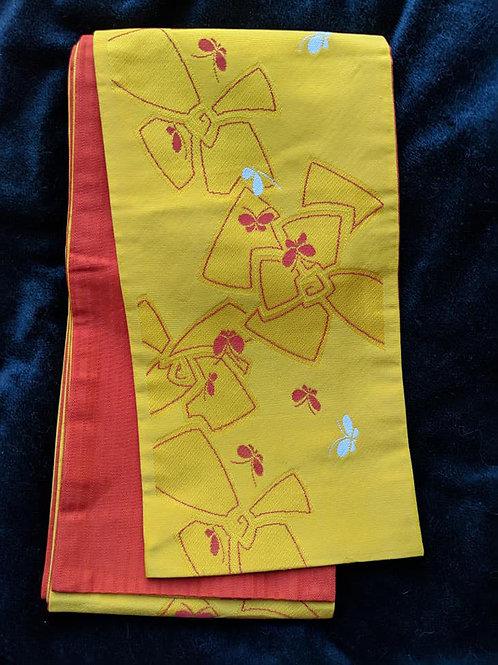 Sunflower Yellow & Burnt Orange Hanhaba Obi