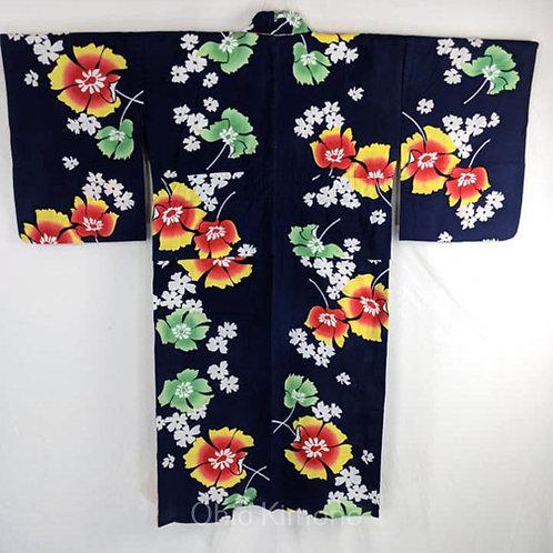 yukata blue with flowers