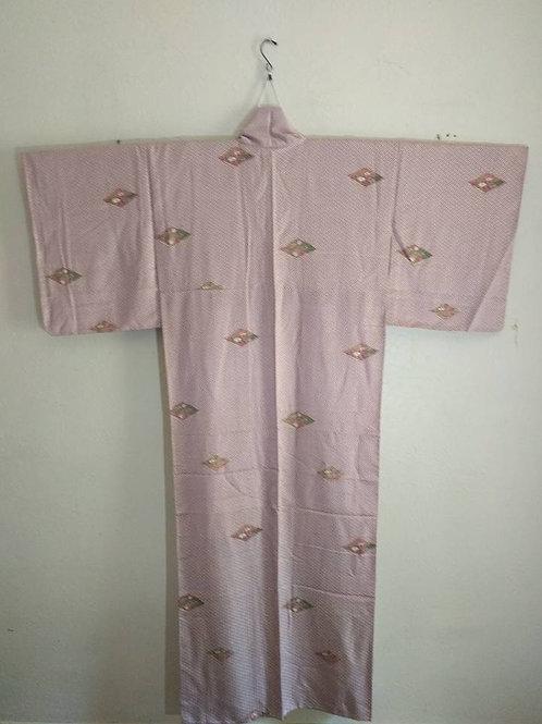 White & Burgundy Japanese Kimono