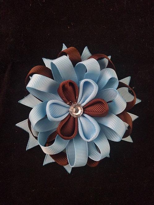 Blue & Brown Ribbon Kanzashi