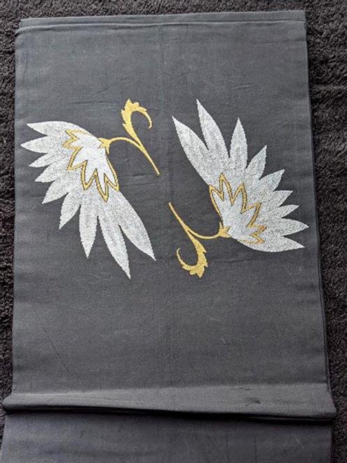 Charcoal Grey & Gold Nagoya Obi