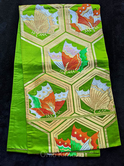 green butterfly fukuro obi