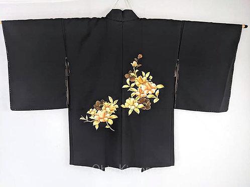 haori black flowers