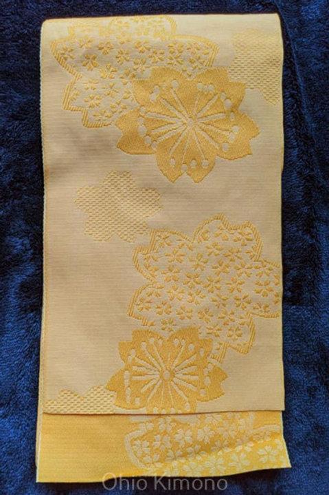 yellow sakura obi for kimono