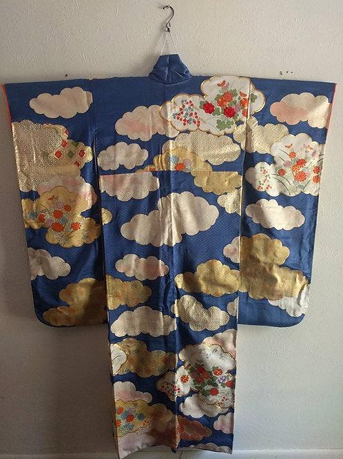 Royal Blue Japanese Furisode Kimono
