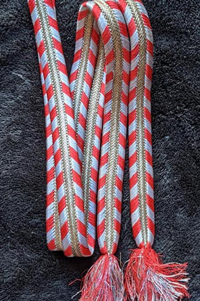 black obijime braid with grey and red