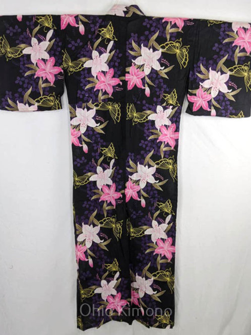 black pink and purple women's flower yukata