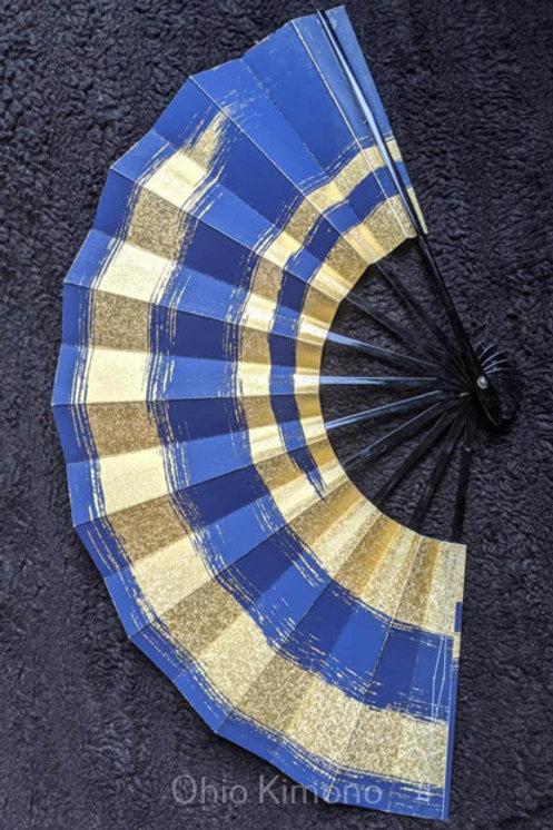 Dark Blue & Gold Folding Fan