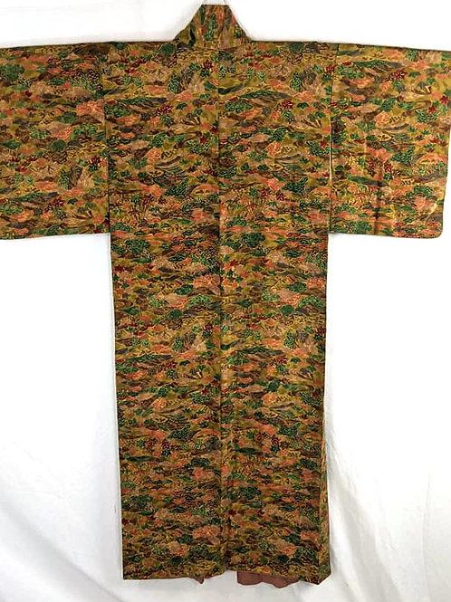 brown and green japanese kimono