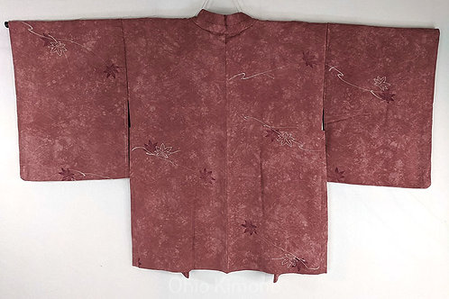 pink haori with maple leaves