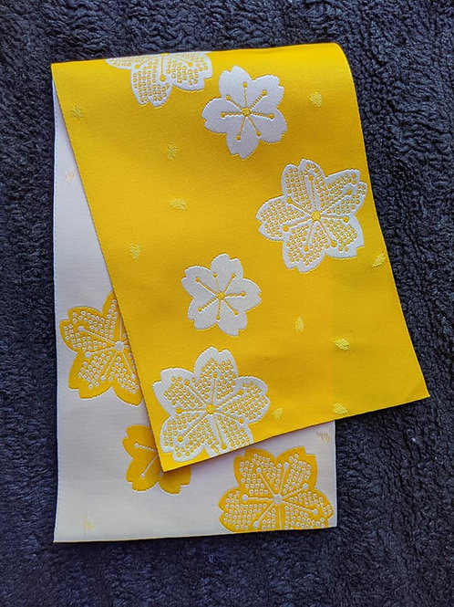 Sunshine Yellow & White Hanhaba Obi