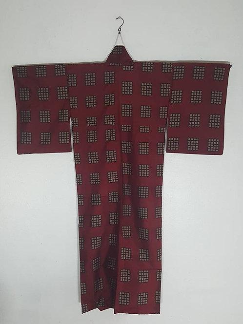 red women's Japanese Kimono