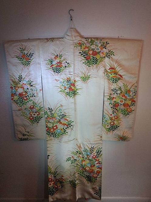 Cream Floral Furisode Kimono