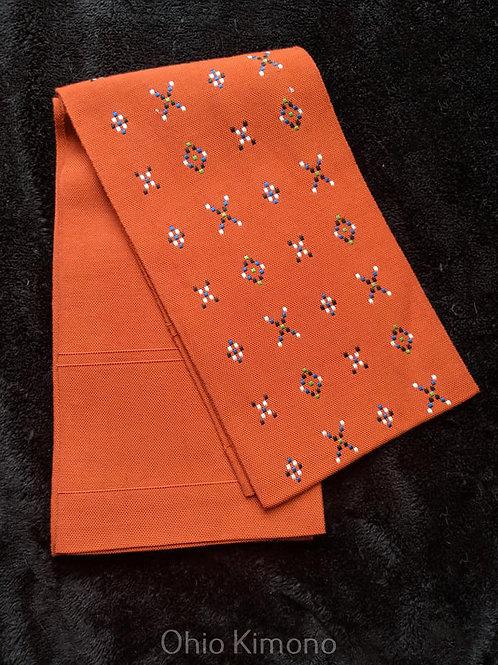 Burnt Orange & White Hanhaba Obi