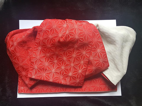 red and white pre-tied obi