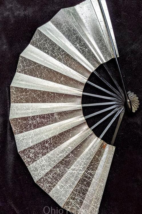 Silver Japanese Folding Fan